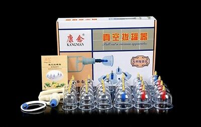 24 Cups Set Vacuum Cupping Kit Massage Acupuncture Suction Therapy Acupuncture