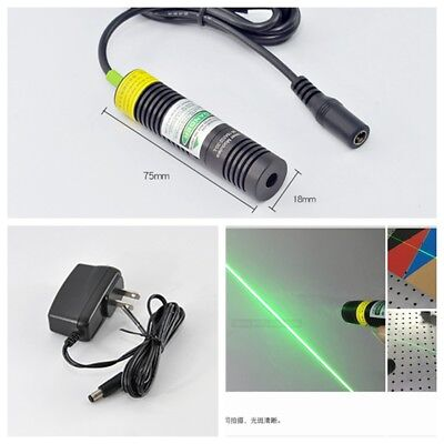 10mw 532nm Green Line Beam Laser Diode Module w 5V AC Adapter Power w K9 Lense