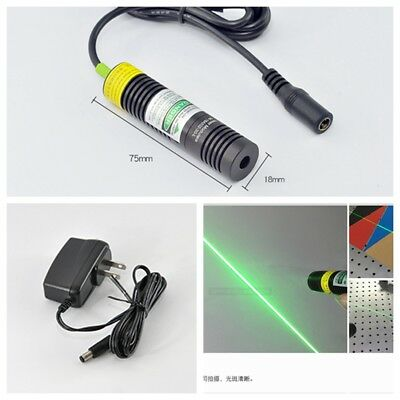 532nm 10mw Green Line Beam Laser Diode Module w 5V AC Adapter Power 18x75mm