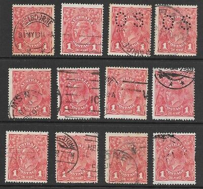 KGV    1d  RED  SINGLE WMK   ROUGH PAPER  DIE2'S   12 STAMPS