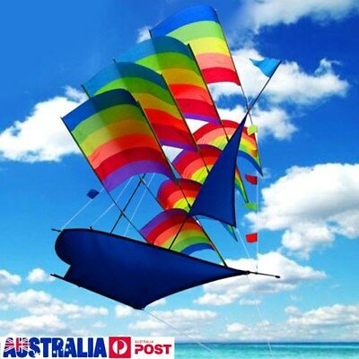 3D Rainbow Sailboat Flying Kite Outdoor Sport Children Kids Game Activity Toys
