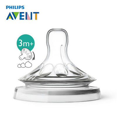 AVENT 2pcs 3 Holes BPA Free Variable Flow Teats Nipples Baby Pacifiers For 3 M+