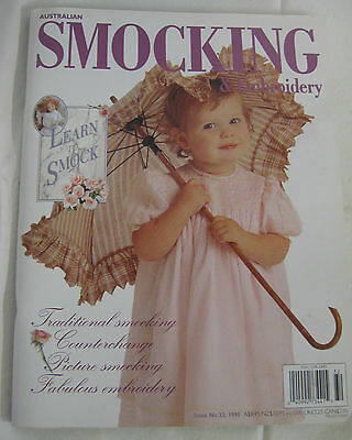 Australian Smocking & Embroidery # 32 1995 Wildflowers Dolls Sewing roll Dresses