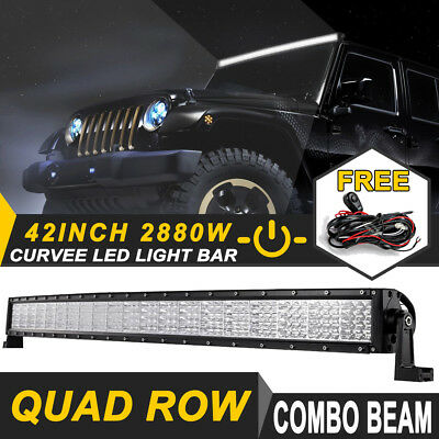 """QUAD ROW 42inch 2880W PHILIPS CURVED LED Light Bar Offroad ATV Lamp UTE 4WD 44"""""""