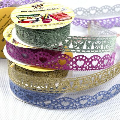 5x Lace Sticky Paper Stickers Bling Self-Adhesive Washi Tape Roll DIY Decor Hot