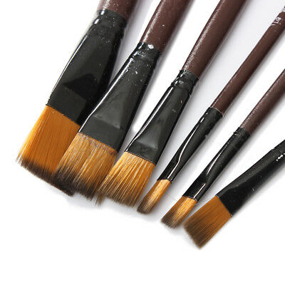 6pcs Brown Tip Nylon Paint Artist Brushes Oil Water Flat Small/Large Thin/Thick
