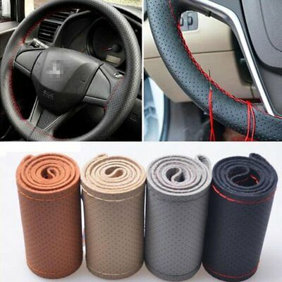 Car Truck Leather Steering Wheel Cover With Needles and Red Thread DIY Non-Slip