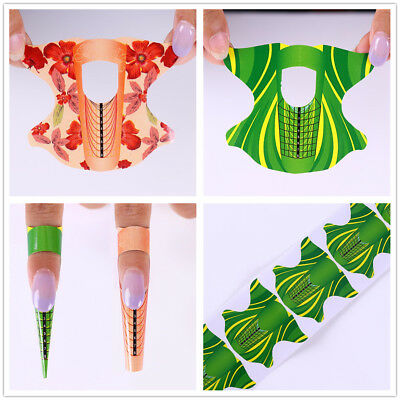 Nail Art Form Sticker Self-adhesive Extension Guide Paper Tips UV Gel x 100