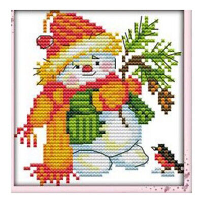 15X(Printed Christmas snowman 11 CT DIY needle and thread Cross Stitch wedding C