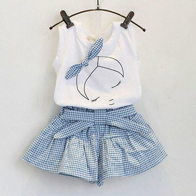 2pcs Kids Baby Girls Summer Outfits White Girl Tank Shirt Tops+ Plaid Pants Set