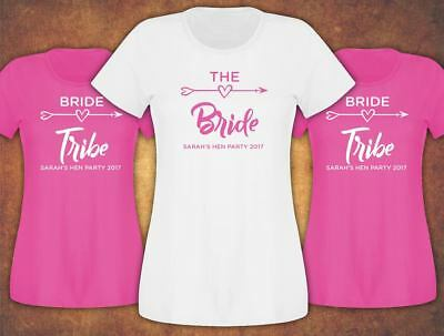 Hen Do Party Bride Tribe 2019 Personalised T-shirt Ladies .. Female
