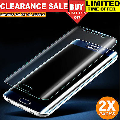 2x Full Coverage Tempered Glass Screen Protector for Samsung Galaxy S7 S6 Edge