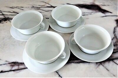 Rosenthal China Set of 4 Cream Soup Bowls with Handles & Saucers White