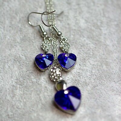 Silver Plated Royal Blue Crystal Heart Necklace And Earrings Set