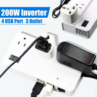 200W Car Power Inverter Charger Digital Display DC to AC 4 USB Port & 3 Outlets
