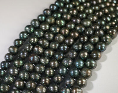 """10 strands x 8-9mm Silver Black Freshwater Pearls Round Beads 14.5"""" GB174"""