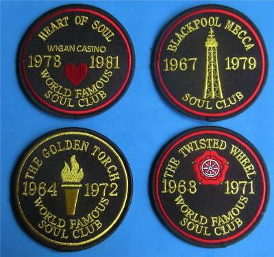 Northern Soul Patch - 4 Famous Soul Club Patches - Wheel - Wigan - Mecca - Torch