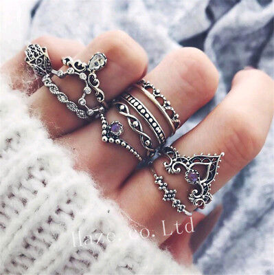 10pcs/set Silver Flower Ring Sets for Women Boho Beach Vintage