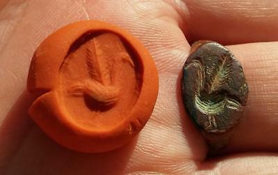 *loracwin* Great Ancient Roman Bronze Ring Seal With Bird, 1St Cent