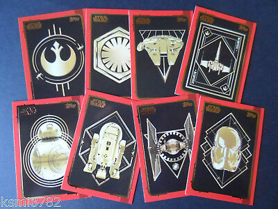 Topps Journey To Star Wars The Last Jedi (Gold Set 8 Cards)