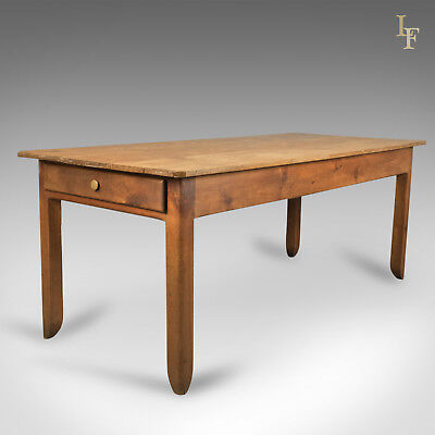 Antique French Farmhouse Table, 19th Century Country Pine, Kitchen Dining c.1900