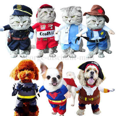 Halloween Pet Dog Cat Costume Suit Clothes Stand up Superhero Police Party Dress