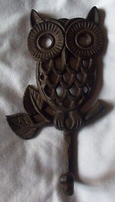 Large Cast Iron Owl Hook Coat Hanger Wall Decor Vintage Style Hoot Owl Decor