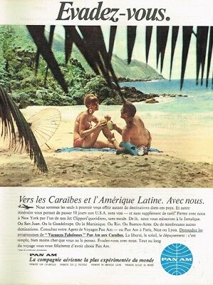 D- Publicité Advertising 1967 Compagnie aerienne Pan Am ... Caraibes