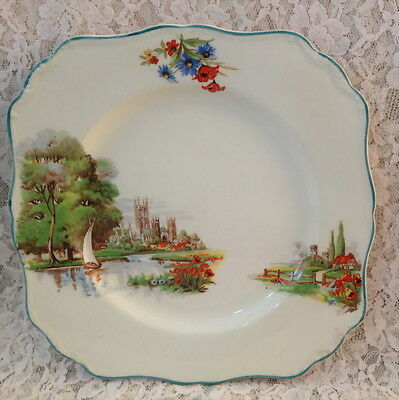 J&g Meakin Canterbury Square Cake Sandwich Plate Platter Red Roof Tulips Yaght