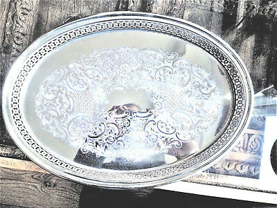Fine Oval Silver Plated Tray, Gallery Edge, Parkin of Sheffield, 40 x 30cm, vgc