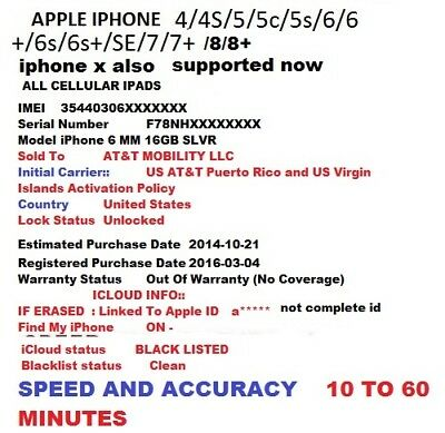 IPHONE / IPAD iCloud Clean/Lost Mode + Full Blacklist Check + Purchased Country