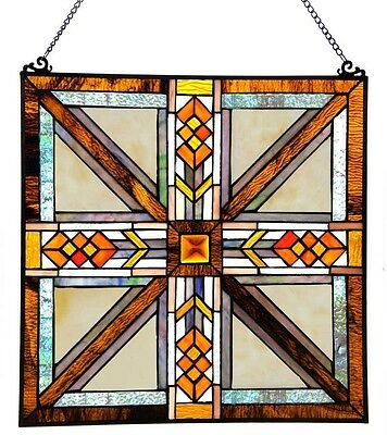 Stained Glass Window Panel Suncatcher Mission Style Hanging Wall Home Art Decor