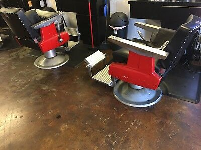 Pair Of Antique Barber Chairs
