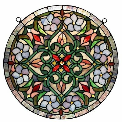 Stained Glass Window Panel Round Tiffany Style Suncatcher Hanging Wall Decor Art