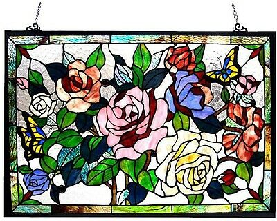Stained Glass Suncatcher Window Panel Art Floral Flower Hanging Home Wall Decor
