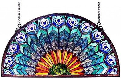 Stained Glass Peacock Window Panel Half Round Circle Hanging Wall Decor Art 35""