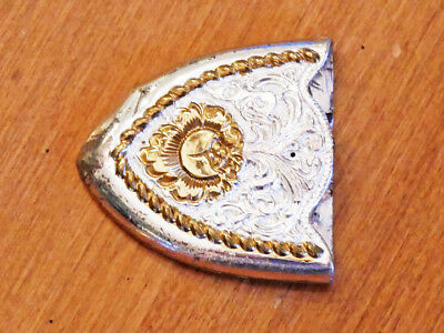 A TRULY BEAUTIFUL GOLD TONE and HEAVY SILVERPLATE BELT TIP by CRUMRINE INC. USED
