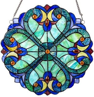 Stained Glass Window Panel Blue Tiffany Style Suncatcher Hanging Wall Decor Art