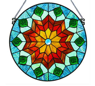Stained Glass Peacock Art Window Panel Suncatcher Tiffany Style Round Hanging