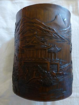 "Antique  Chinese Carved Bamboo Brush Holder Pagoda  6.75"" Tall Cracks"