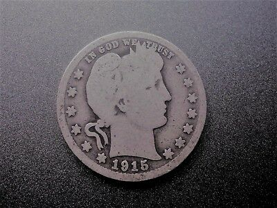 "1915 D 25C Barber Quarter 90 % Silver US Coin BQ86 OLD ""TUCK"" FREE SHIPPING"