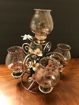 Home Interior Homco Table Sconce W/5 Celeste Votives and 3 Floral Rings