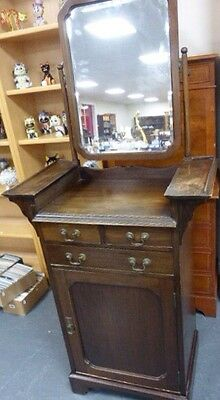 Antique Early 20th Century Slim Mahogany Dressing Chest With Swivel Mirror