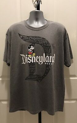 "Disney Parks Mickey Mouse With Disneyland Logo ""D"" Tee Adult T-Shirt X-Large Nwt"