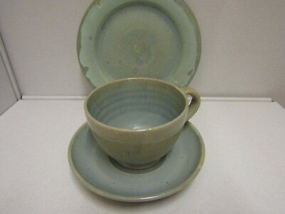 Upchuch Studio Arts and Crafts Pottery Cup Saucer Plate Incised Marks Nice c1920