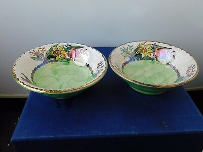 Maling Pair Spring Flowers Pin Dishes Hand Painted  Mint. C 1934 Signed..rare