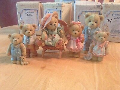 Cherished Teddies lot 7 pieces with chair, Family Set includes boxes missing one