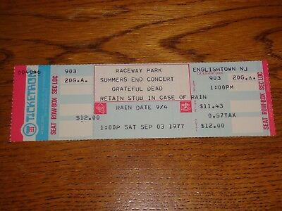 Grateful Dead 1977 Unused Ticket Raceway Park New Jersey Jerry Garcia Bob Weir