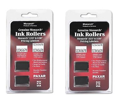 Monarch 1131 / 1136 Pricemarker Ink Roller Black 2 Count MNK925403 Snaps in easi