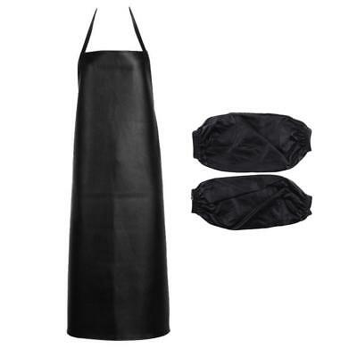 Black Waterproof Chef Apron Kitchen Butcher Cooking Catering Unisex +Sleeves